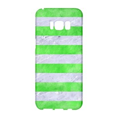 Stripes2 White Marble & Green Watercolor Samsung Galaxy S8 Hardshell Case  by trendistuff