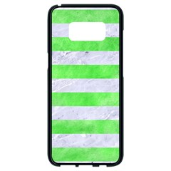 Stripes2 White Marble & Green Watercolor Samsung Galaxy S8 Black Seamless Case by trendistuff