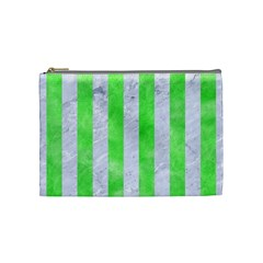 Stripes1 White Marble & Green Watercolor Cosmetic Bag (medium) by trendistuff