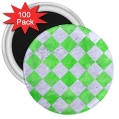 Square2 White Marble & Green Watercolor 3  Magnets (100 Pack)