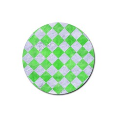 Square2 White Marble & Green Watercolor Rubber Coaster (round)  by trendistuff