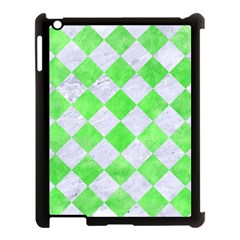 Square2 White Marble & Green Watercolor Apple Ipad 3/4 Case (black) by trendistuff