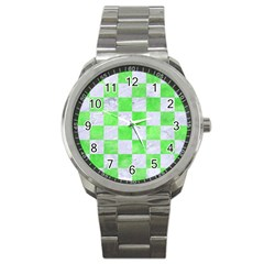 Square1 White Marble & Green Watercolor Sport Metal Watch by trendistuff
