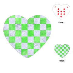 Square1 White Marble & Green Watercolor Playing Cards (heart)  by trendistuff
