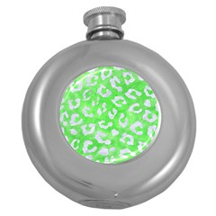 Skin5 White Marble & Green Watercolor (r) Round Hip Flask (5 Oz) by trendistuff
