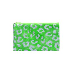 Skin5 White Marble & Green Watercolor (r) Cosmetic Bag (xs) by trendistuff