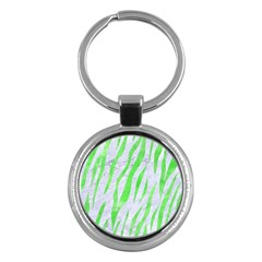 Skin3 White Marble & Green Watercolor (r) Key Chains (round)  by trendistuff