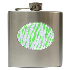 Skin3 White Marble & Green Watercolor (r) Hip Flask (6 Oz) by trendistuff