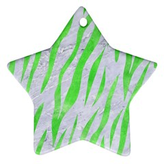 Skin3 White Marble & Green Watercolor (r) Star Ornament (two Sides) by trendistuff