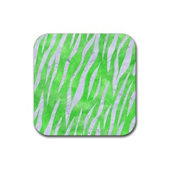 Skin3 White Marble & Green Watercolor Rubber Square Coaster (4 Pack)  by trendistuff