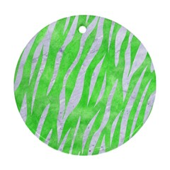 Skin3 White Marble & Green Watercolor Round Ornament (two Sides)