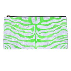 Skin2 White Marble & Green Watercolor (r) Pencil Cases by trendistuff