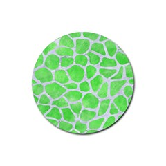 Skin1 White Marble & Green Watercolor (r) Rubber Coaster (round)  by trendistuff