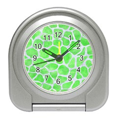 Skin1 White Marble & Green Watercolor (r) Travel Alarm Clock