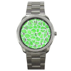 Skin1 White Marble & Green Watercolor (r) Sport Metal Watch
