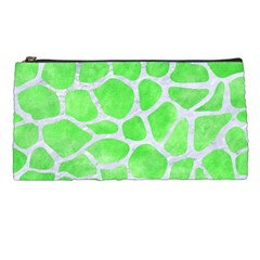 Skin1 White Marble & Green Watercolor (r) Pencil Cases by trendistuff