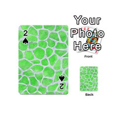 Skin1 White Marble & Green Watercolor (r) Playing Cards 54 (mini)  by trendistuff