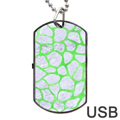 Skin1 White Marble & Green Watercolor Dog Tag Usb Flash (one Side) by trendistuff