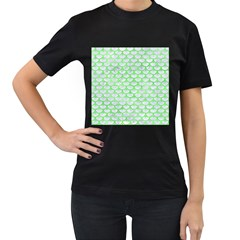 Scales3 White Marble & Green Watercolor (r) Women s T Shirt (black) (two Sided)