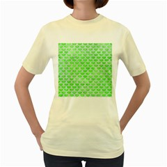 Scales3 White Marble & Green Watercolor Women s Yellow T Shirt