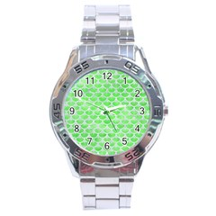 Scales3 White Marble & Green Watercolor Stainless Steel Analogue Watch by trendistuff