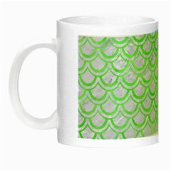 Scales2 White Marble & Green Watercolor (r) Night Luminous Mugs by trendistuff