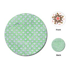 Scales2 White Marble & Green Watercolor (r) Playing Cards (round)  by trendistuff