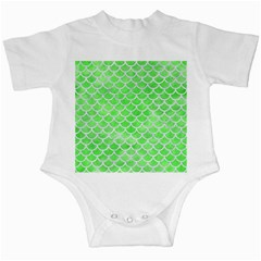 Scales1 White Marble & Green Watercolor Infant Creepers