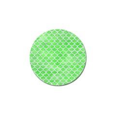 Scales1 White Marble & Green Watercolor Golf Ball Marker by trendistuff
