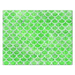 Scales1 White Marble & Green Watercolor Rectangular Jigsaw Puzzl