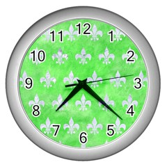 Royal1 White Marble & Green Watercolor (r) Wall Clock (silver) by trendistuff