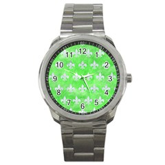 Royal1 White Marble & Green Watercolor (r) Sport Metal Watch by trendistuff