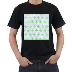 Royal1 White Marble & Green Watercolor Men s T Shirt (black) by trendistuff
