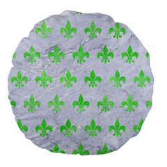 Royal1 White Marble & Green Watercolor Large 18  Premium Flano Round Cushions by trendistuff