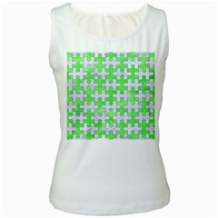 Puzzle1 White Marble & Green Watercolor Women s White Tank Top by trendistuff