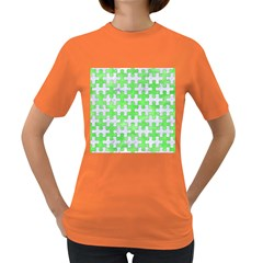 Puzzle1 White Marble & Green Watercolor Women s Dark T Shirt