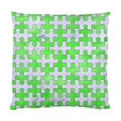 Puzzle1 White Marble & Green Watercolor Standard Cushion Case (two Sides) by trendistuff
