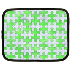 Puzzle1 White Marble & Green Watercolor Netbook Case (xl)  by trendistuff