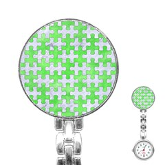 Puzzle1 White Marble & Green Watercolor Stainless Steel Nurses Watch by trendistuff
