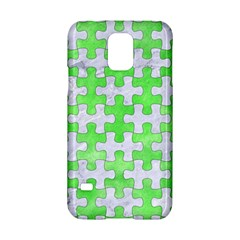 Puzzle1 White Marble & Green Watercolor Samsung Galaxy S5 Hardshell Case  by trendistuff
