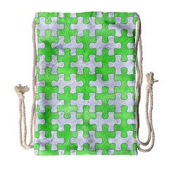 Puzzle1 White Marble & Green Watercolor Drawstring Bag (large) by trendistuff