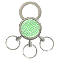 Houndstooth2 White Marble & Green Watercolor 3 Ring Key Chains