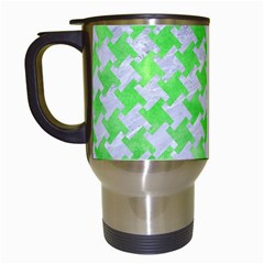 Houndstooth2 White Marble & Green Watercolor Travel Mugs (white) by trendistuff