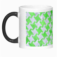 Houndstooth2 White Marble & Green Watercolor Morph Mugs by trendistuff