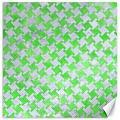 Houndstooth2 White Marble & Green Watercolor Canvas 12  X 12   by trendistuff