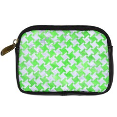 Houndstooth2 White Marble & Green Watercolor Digital Camera Cases by trendistuff