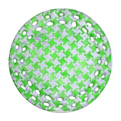 Houndstooth2 White Marble & Green Watercolor Ornament (round Filigree) by trendistuff