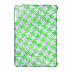 Houndstooth2 White Marble & Green Watercolor Apple Ipad Mini Hardshell Case (compatible With Smart Cover) by trendistuff