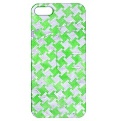 Houndstooth2 White Marble & Green Watercolor Apple Iphone 5 Hardshell Case With Stand by trendistuff