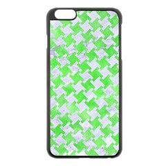 Houndstooth2 White Marble & Green Watercolor Apple Iphone 6 Plus/6s Plus Black Enamel Case by trendistuff